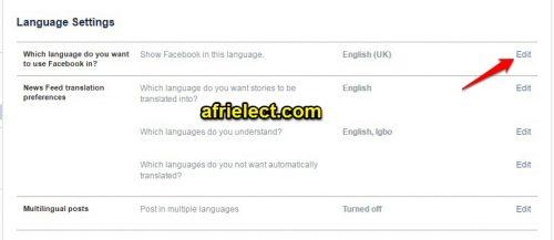 Change Facebook Language Settings